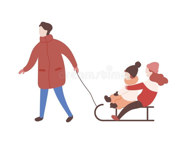 Traîneau de dessin de mère avec ses enfants Parent et enfants ayant l'amusement dehors ensemble Loisir d'hiver mignon illustration libre de droits