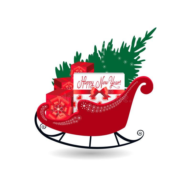 Traîneau de Santa avec des présents illustration de vecteur