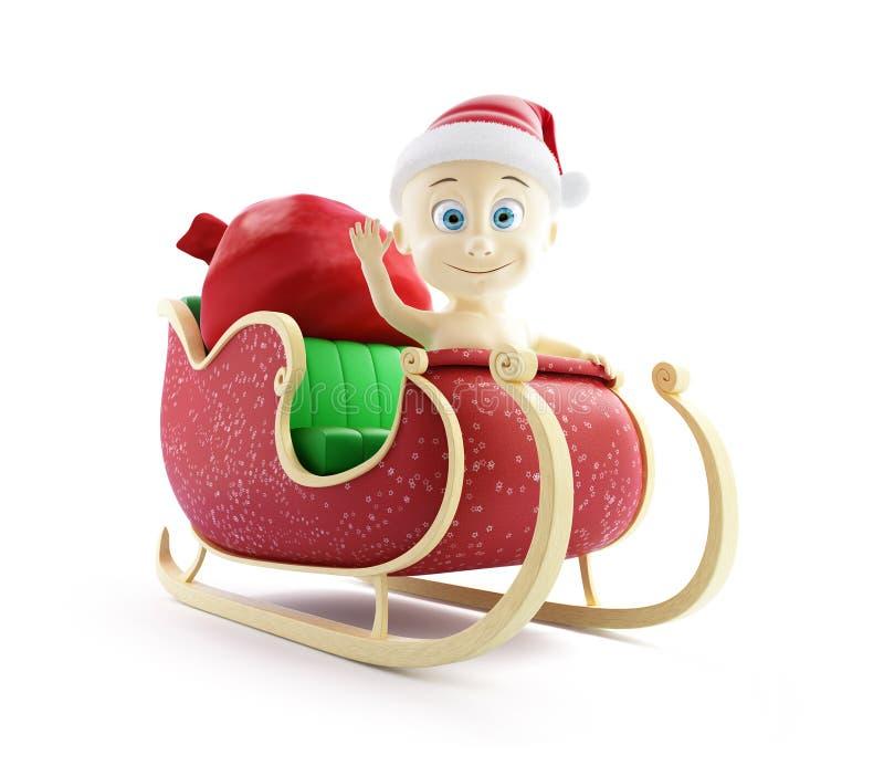 Traîneau de Santa de chapeau de Santa de bébé et sac de Santa avec des cadeaux illustration de vecteur