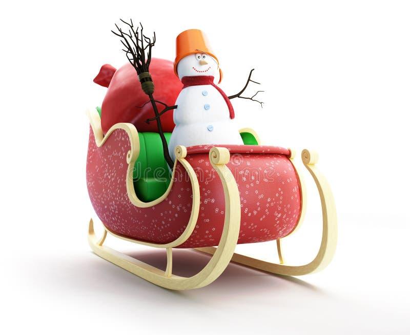 Traîneau de Santa et sac de Santa avec le bonhomme de neige de cadeaux illustration libre de droits