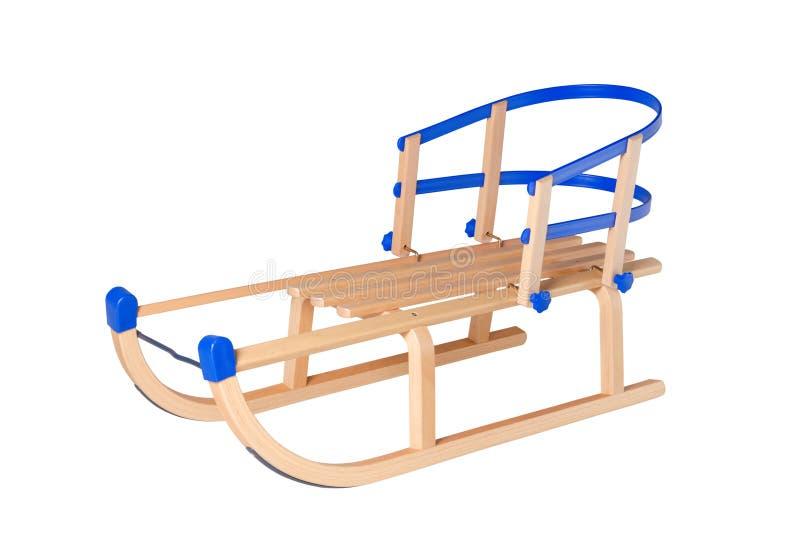 Traîneau en bois traditionnel avec le dos d'isolement sur le blanc image stock