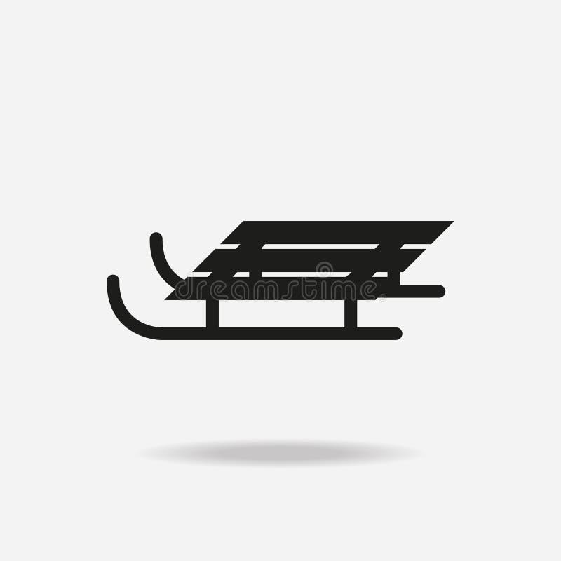 Traîneau noir sur le fond blanc illustration de vecteur