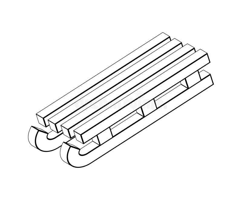 Traîneau, silhouette en bois de traîneau, desig d'icône de symbole de vecteur d'ensemble illustration de vecteur