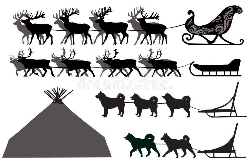 Traîneaux de cerfs communs et de chien illustration libre de droits