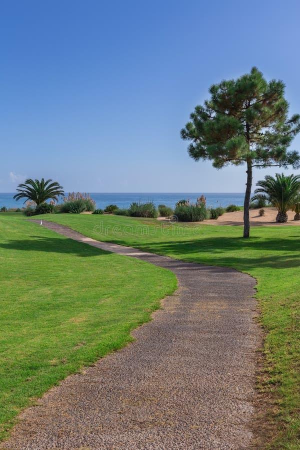 Traînez dans le chemin du parc de golf sur un fond de mer photo libre de droits