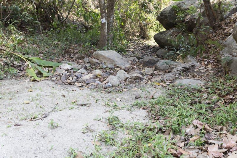 traînez sur la colline dans la forêt pour la hausse ou le trekking photos stock