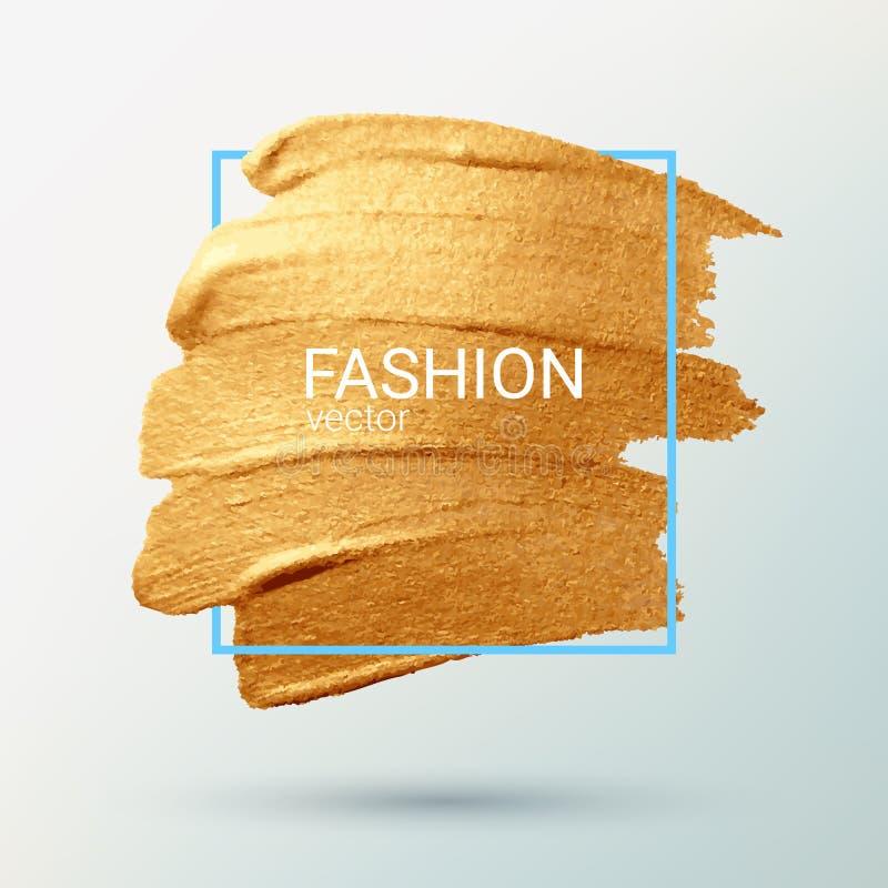 Tra?age de vecteur Calomnie avec une brosse artistique Texture grunge d'or dans un cadre illustration stock