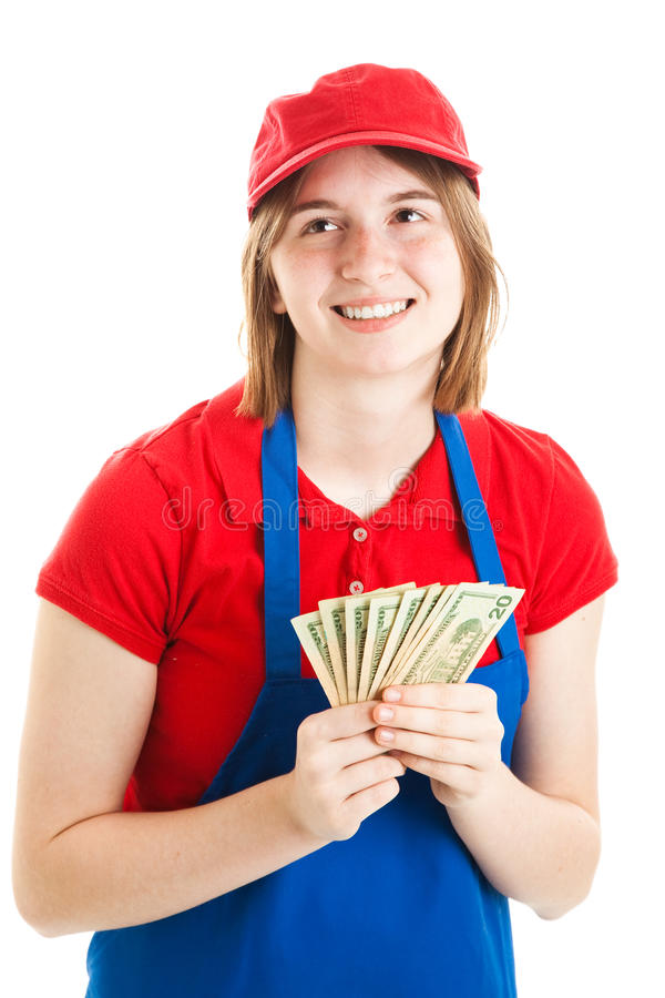 Trabajador adolescente con el dinero fotografía de archivo