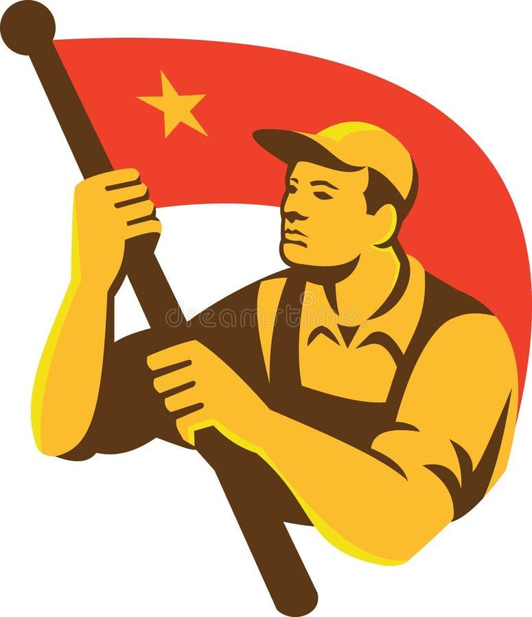 Trabajador comunista con la estrella de la bandera roja retra libre illustration