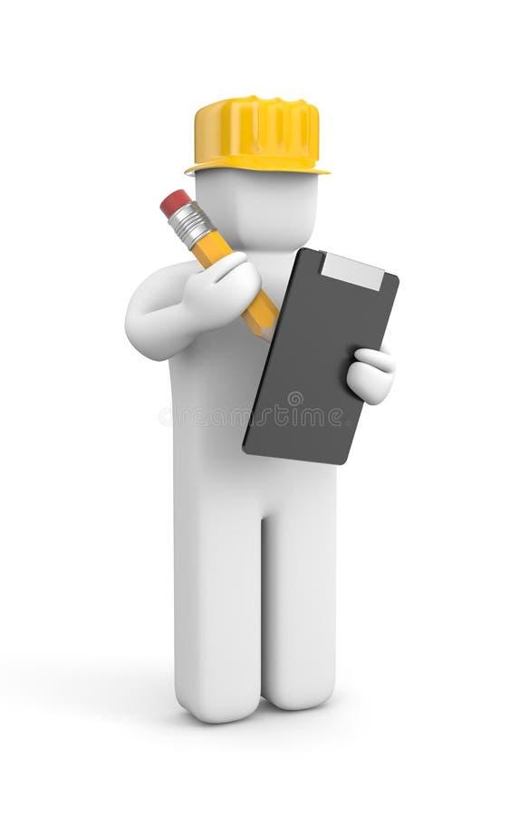 Trabajador con el lápiz y el tablero stock de ilustración