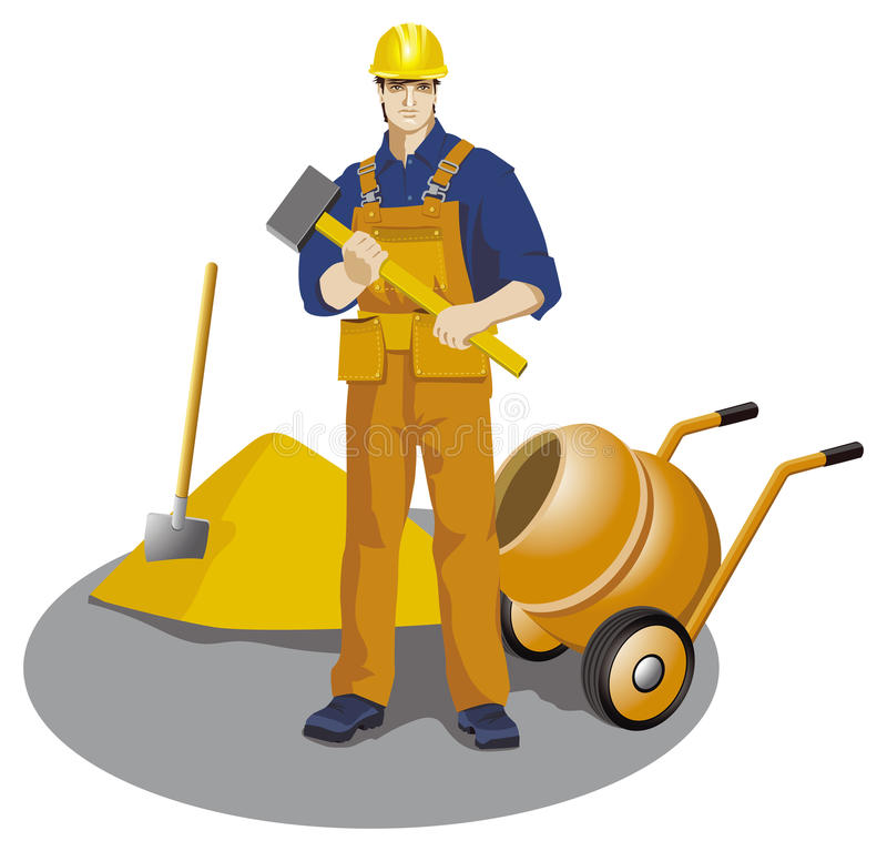 Trabajador con el martillo ilustración del vector