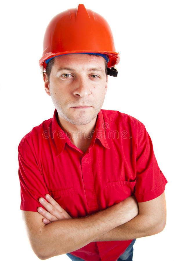 Trabajador con el sombrero rojo fotos de archivo libres de regalías