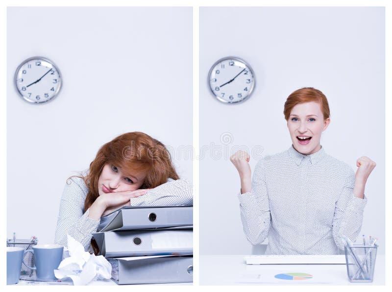 Trabajador con exceso de trabajo y eficiente imagenes de archivo