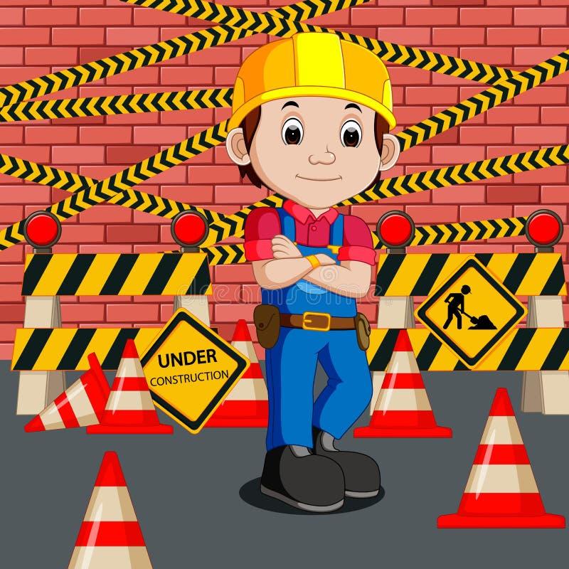 Trabajador con la muestra de la construcción libre illustration