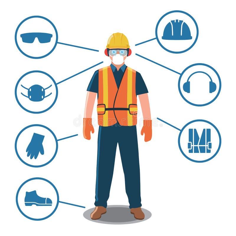 Trabajador con los iconos del equipo protector personal y de la seguridad stock de ilustración