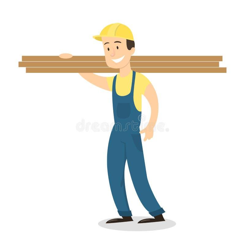 Trabajador con los tablones de madera stock de ilustración