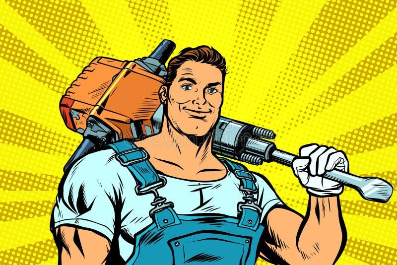 Trabajador con un martillo perforador stock de ilustración