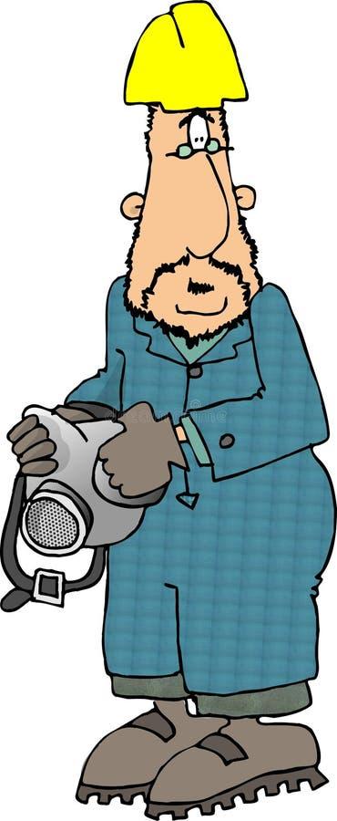 Trabajador con un respirador libre illustration
