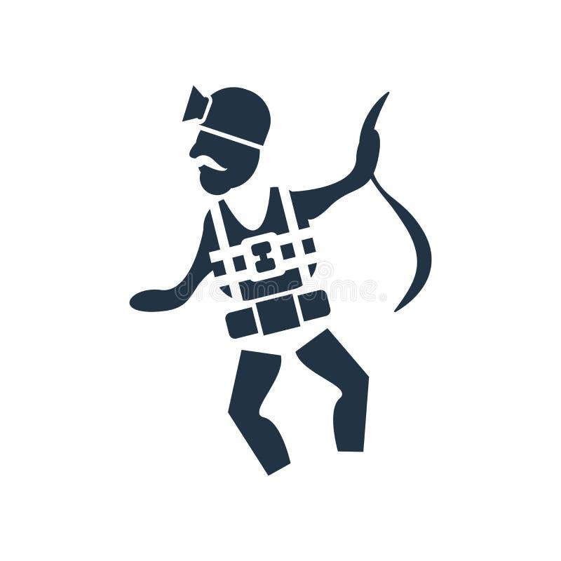 Trabajador con vector del icono del arnés aislado en el fondo blanco, trabajador con la muestra del arnés libre illustration