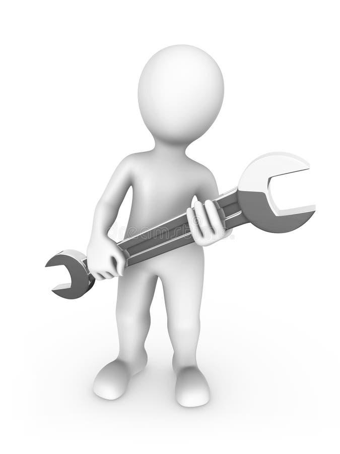 trabajador 3D con la llave grande en manos ilustración del vector