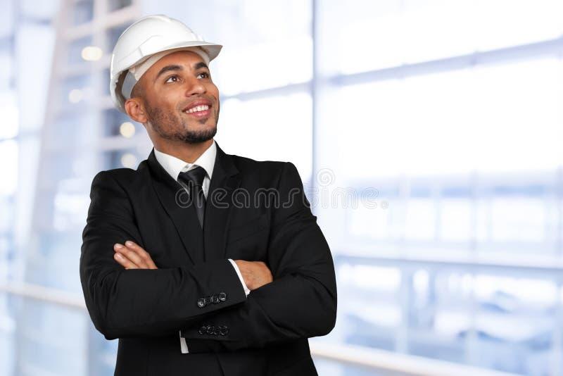 Trabajador de construcción afroamericano imagen de archivo libre de regalías