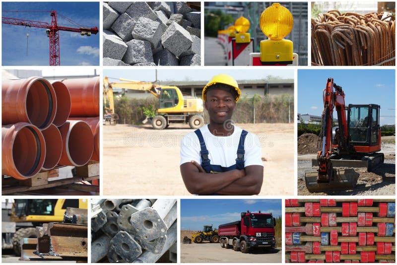 Trabajador de construcción afroamericano derecho con la construcción foto de archivo libre de regalías