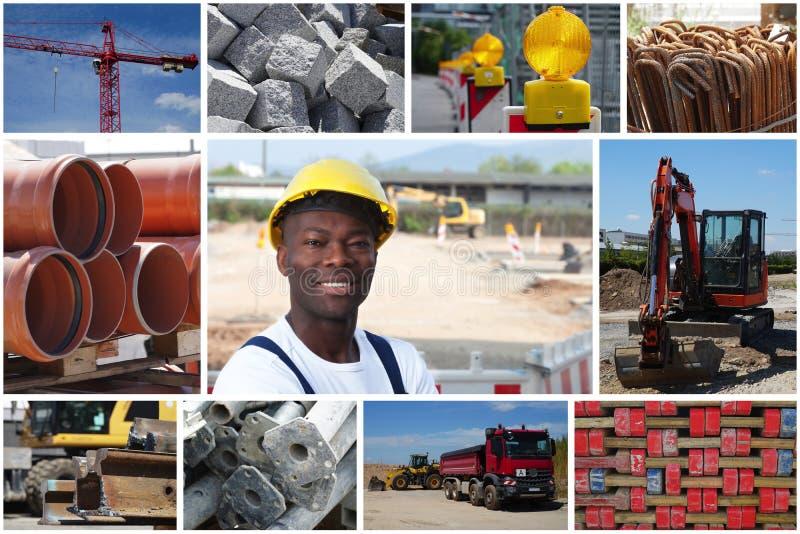 Trabajador de construcción afroamericano de risa con la construcción imagen de archivo