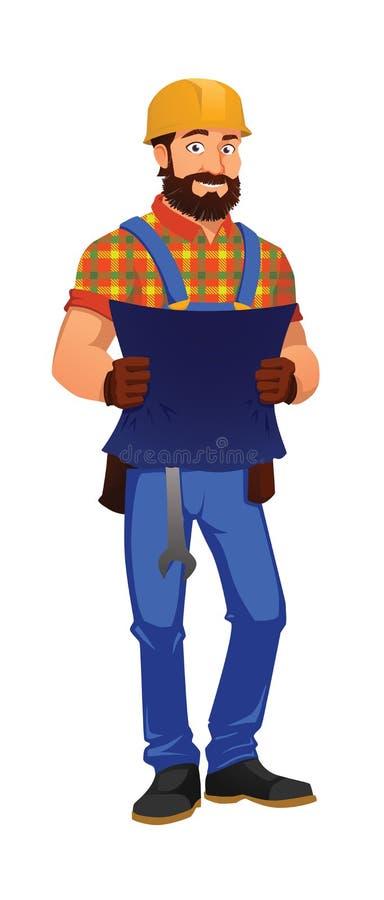 Trabajador de construcción alegre con una llave inglesa, sosteniendo un modelo foto de archivo libre de regalías