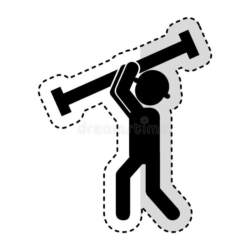 Trabajador de construcción con el avatar de la columna del metal ilustración del vector