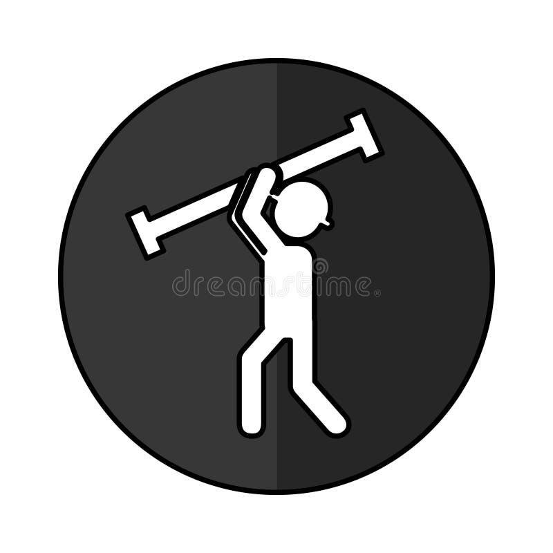 Trabajador de construcción con el avatar de la columna del metal stock de ilustración