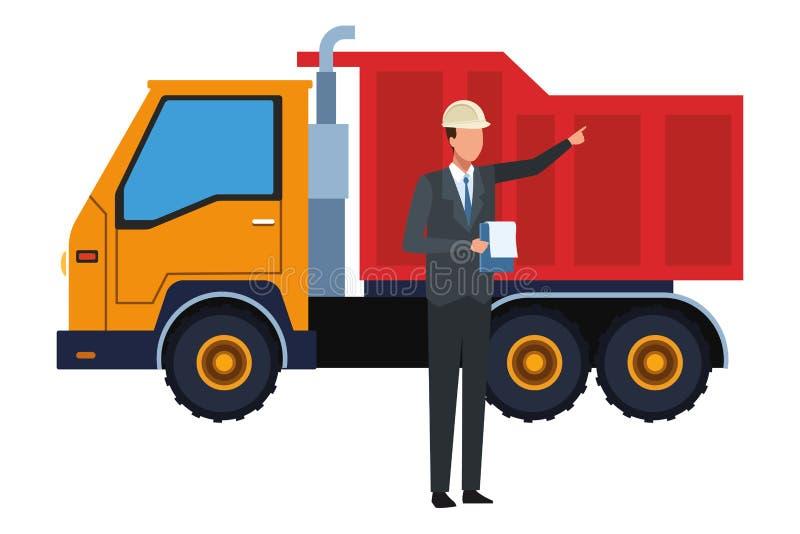 Trabajador de construcción con el camión del tablero y del cargo colorido libre illustration