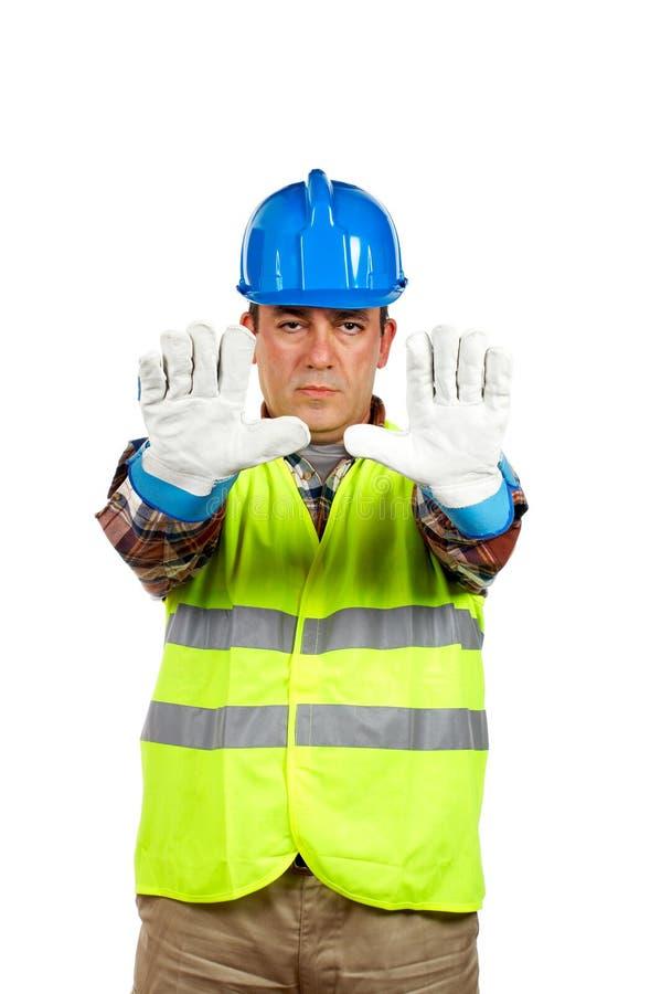 Trabajador de construcción con el guante imagen de archivo