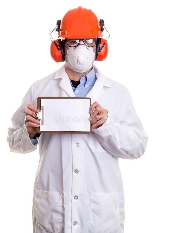 Trabajador de construcción con el tablero fotografía de archivo