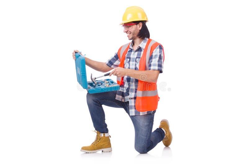 Trabajador de construcción con la caja de herramientas aislada en fotos de archivo libres de regalías