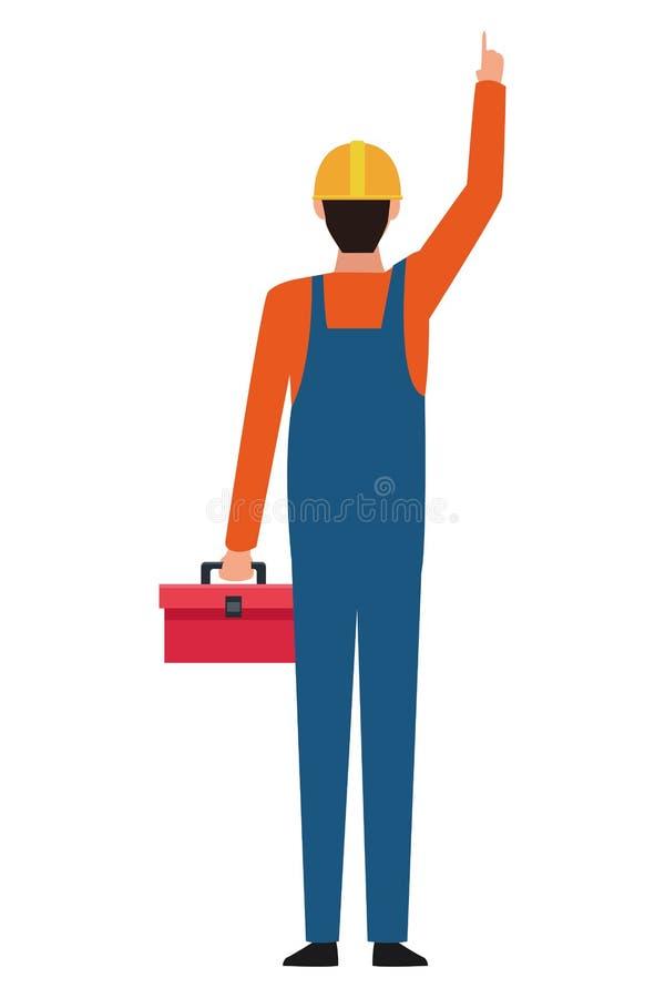 Trabajador de construcción con la caja de herramientas al revés colorida stock de ilustración