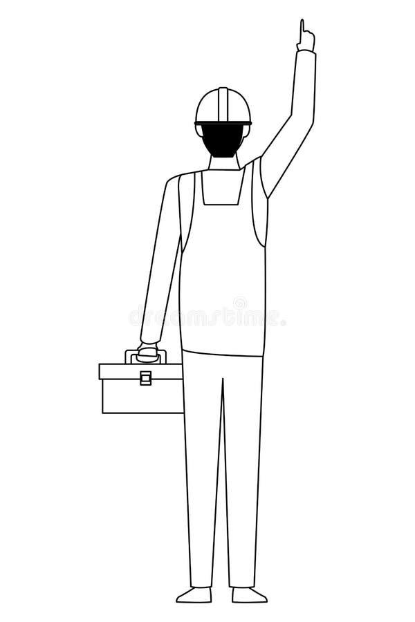 Trabajador de construcción con la caja de herramientas al revés en blanco y negro ilustración del vector