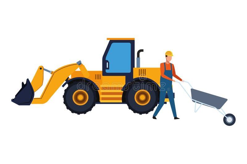 Trabajador de construcción con la carretilla y la retroexcavadora coloridas ilustración del vector