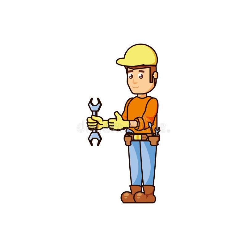 Trabajador de construcción con la herramienta de la llave stock de ilustración