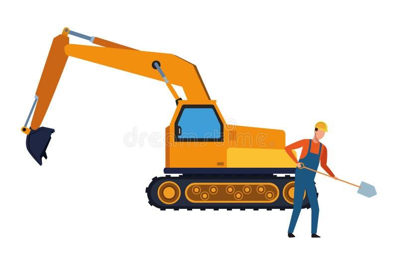 Trabajador de construcción con la pala y la retroexcavadora coloridas stock de ilustración