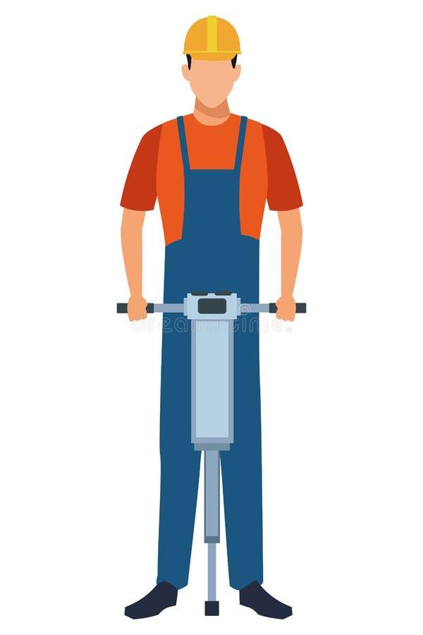 Trabajador de construcción con la taladradora colorida ilustración del vector