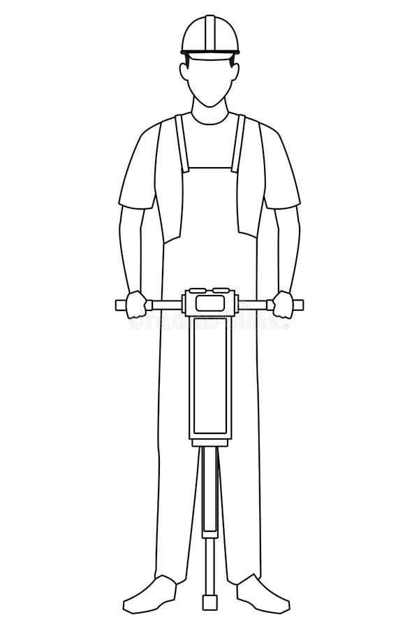 Trabajador de construcción con la taladradora en blanco y negro stock de ilustración