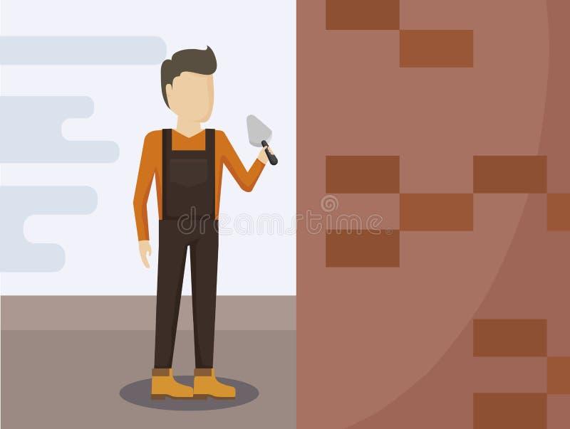 Trabajador de construcción con las espátulas ilustración del vector