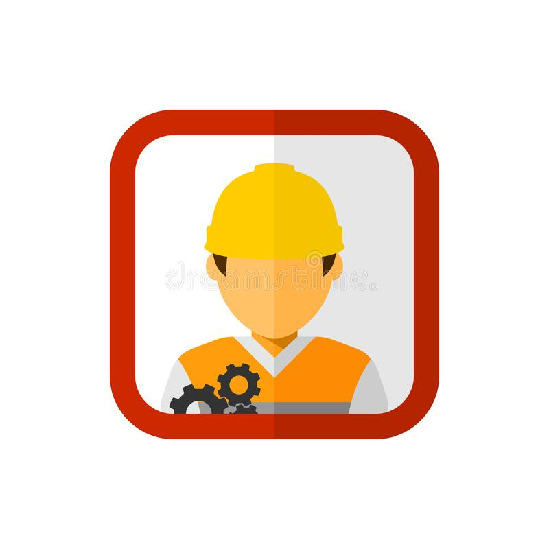 Trabajador de construcción con vector cuadrado del avatar ilustración del vector
