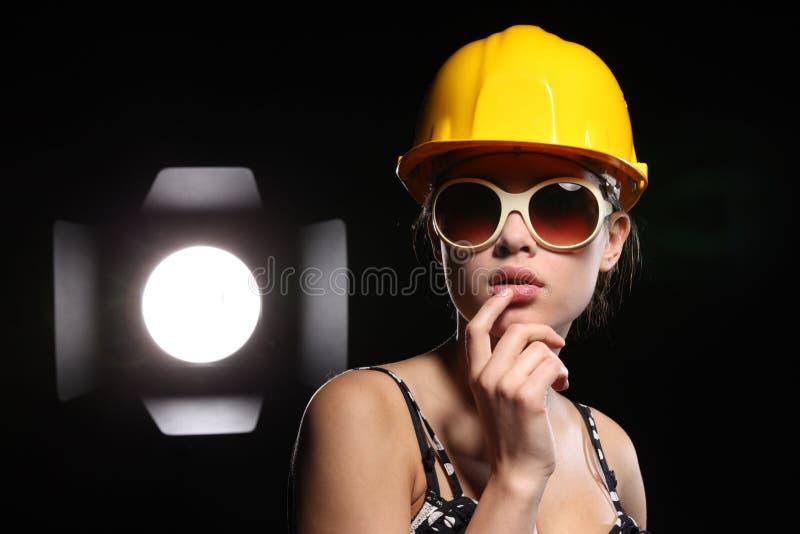 Trabajador de construcción de la belleza fotografía de archivo libre de regalías