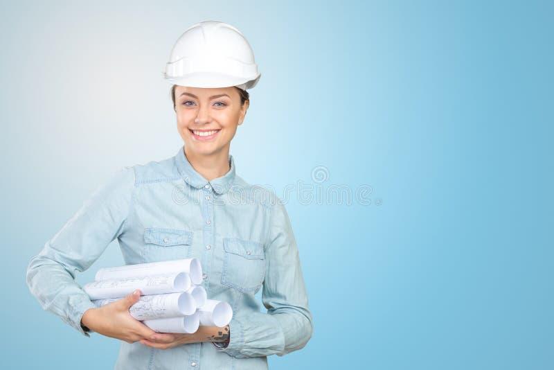 Trabajador de construcción de la mujer fotografía de archivo