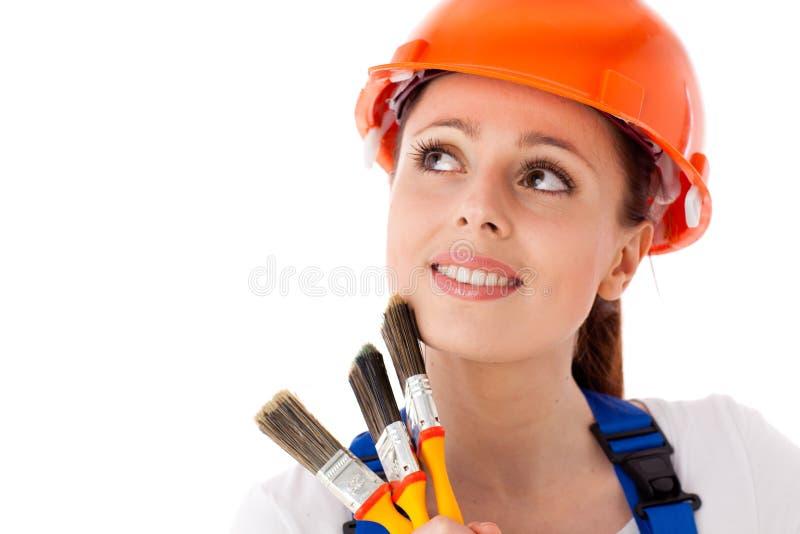 Trabajador de construcción de sexo femenino. imagen de archivo