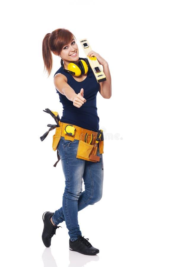 Trabajador de construcción de sexo femenino imagenes de archivo