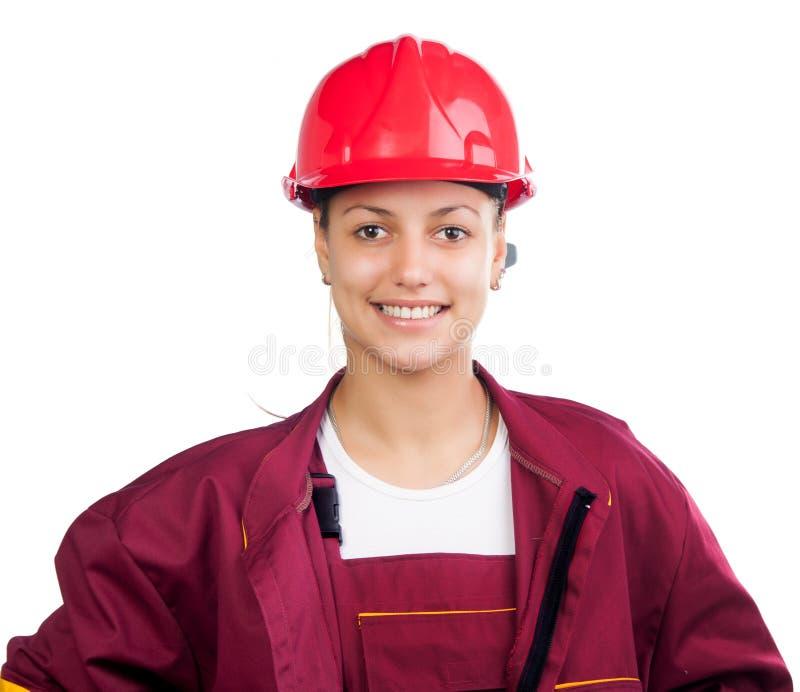 Trabajador de construcción de sexo femenino feliz imagen de archivo
