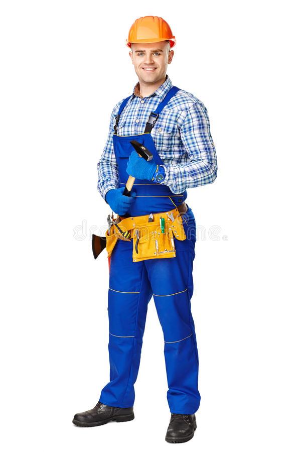 Trabajador de construcción de sexo masculino joven con el martillo imagen de archivo libre de regalías