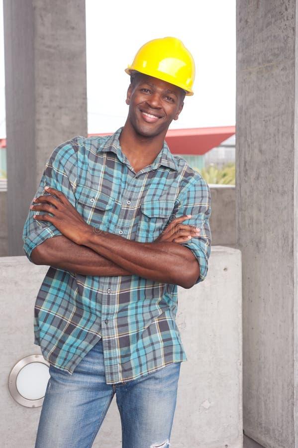 Trabajador de construcción del afroamericano fotos de archivo
